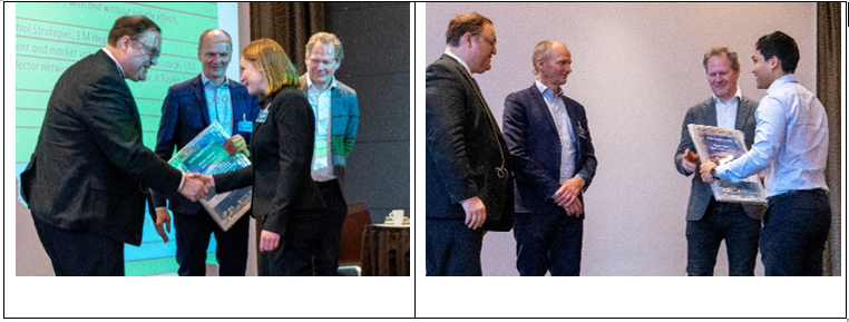 Left picture: Best Poster Award based on scientific content. The award winner Manuela Böhm, ForWind is number three from left. The others are the conference chairs: Prof Trond Kvamsdal, NTNU, John Olav G. Tande, SINTEF and Prof Michael Muskulus, NTNU. Right picture: Best Poster Award based on best communication. The award winner Duy Tan Tran, NTNU is number four from left. The others are Prof Trond Kvamsdal, NTNU, John Olav G. Tande, SINTEF and Prof Michael Muskulus, NTNU.